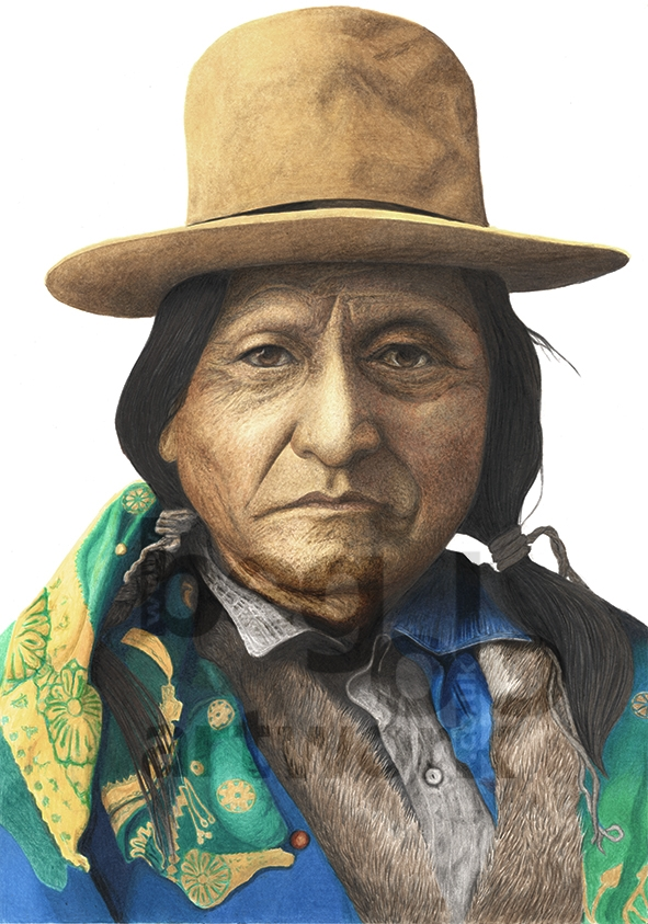 Colour pencil drawing Sitting Bull by Tony Begolo