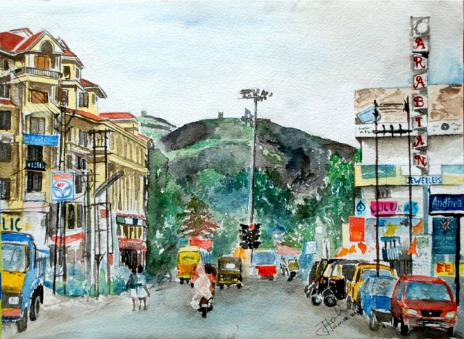 kerala town watercolor painting by Jiji John