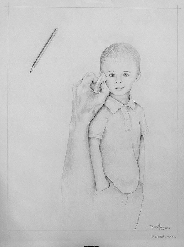 Pencil drawing boy by Isaac