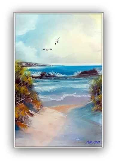 pastel painting seascape